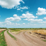 Two dirty roads under blue sky Royalty Free Stock Image