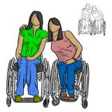 Two disable women sitting on wheelchair vector illustration sket royalty free illustration