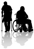 Two disableds. Graphic disabled on a walk. Silhouettes of people Royalty Free Stock Images