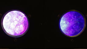 Two Disco lantern. Round fixed disco lights. Constant change color. FullHD stock video footage