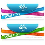 Super sale banner taped -60%, -70% discount. Two discount banner for a web site. Super sale banner taped -60%, -70% discount. Vector illustration Royalty Free Stock Image