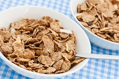 Two dishes of delicious bran flakes Stock Photo
