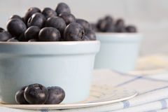 Two dishes of fresh blueberries Royalty Free Stock Photos