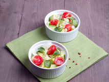 Two dishes with mixed vegetable salad Royalty Free Stock Images