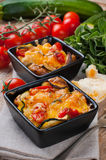 Two dishes of vegetable casserole Stock Photo