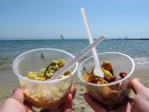 Two disposable plastic tableware with delicious takeaway food on the beach. Pilaf and potatoes with sausage in plastic containers on the sea background Stock Photos