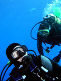 Two divers. Detail, Red sea stock photo