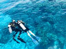 Two divers in black scuba diving suits, a man and a woman with oxygen bottles sink under the transparent blue water in the sea, th. E ocean in a tropical Royalty Free Stock Image