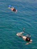 Two divers on sea Royalty Free Stock Photos