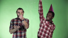 Two diversity man celebrate. And dancing using cracker pyrotechnics firework stock video