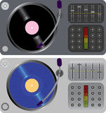 Two dj turntables isolated on white Stock Images
