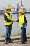 Two Dockers shaking hands Royalty Free Stock Image