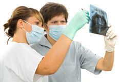Two doctor examine the dental Rx. Two sweet young doctor examine the dental Rx Royalty Free Stock Photo