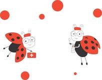 Two doctor ladybugs. Vector illustration of cute cartoon doctor ladybugs Stock Photography
