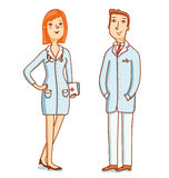 Two doctors characters. Two doctors cartoon characters vector illustration stock illustration