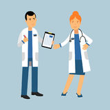 Two doctors characters in a white coats standing and discussing health care, medical care Illustration stock illustration