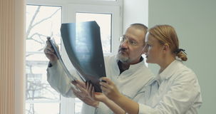 Two doctors comparing x-ray images stock video footage