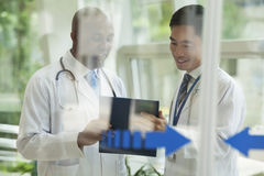 Two doctors consulting over medical record on the other side of glass doors Royalty Free Stock Images