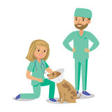 Two doctors with dog. Vet doctors. Cartoon veterinarians Stock Photography