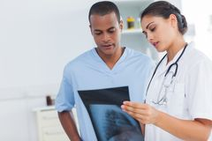Two doctors examining an x-ray Royalty Free Stock Photography