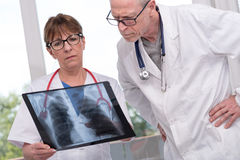 Two doctors examining x-ray report Royalty Free Stock Photos
