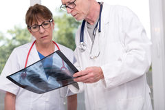 Two doctors examining x-ray report Royalty Free Stock Image