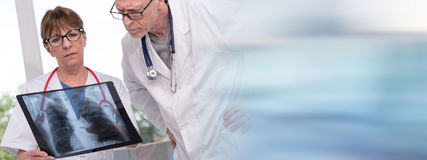 Two doctors examining x-ray report Royalty Free Stock Photo