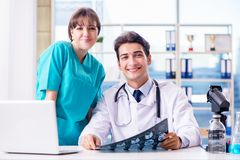 The two doctors having discussion in the hospital. Two doctors having discussion in the hospital Stock Photos