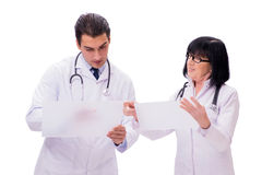 The two doctors isolated on the white background Stock Photography