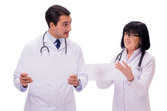 The two doctors isolated on the white background Royalty Free Stock Photos