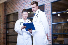 Two doctors looking at clipboard and discussing near library Stock Image