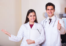 Two doctors in private clinic royalty free stock photo