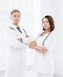 Two doctors with stethoscopes Royalty Free Stock Photo