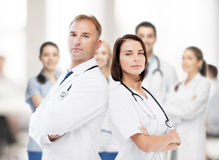 Two doctors with stethoscopes Stock Photo