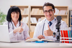 The two doctors working in the lab Royalty Free Stock Photo