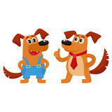 Two dog characters, in blue overalls and red tie Stock Photos