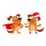Two dog characters, Christmas hat, superhero cape Stock Images