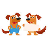 Two dog characters, standing, holding blank board. Two funny cute dog characters, one holding blank board, poster, another in blue worker overalls, cartoon Stock Image