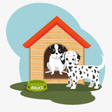 Two dog house bowl food. Illustration eps 10 Royalty Free Stock Photography