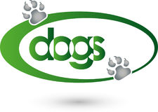 Two dog paws, dogs and keeper logo Royalty Free Stock Photography