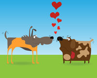 Two dogs. Funny cartoon illustration of two dogs for web design Royalty Free Stock Image