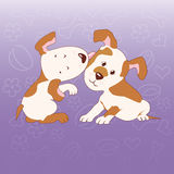Two dogs. Two cartoon dogs isolated on purple background Royalty Free Stock Images