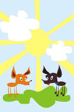Two dogs. Figure representing two dogs standing on a solar lawn Stock Image