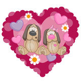 Two Dogs. On a background of heart Stock Photos