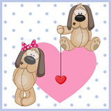 Two Dogs. On a background of heart Royalty Free Stock Images