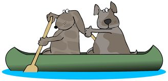 Two Dogs In A Canoe. This illustration depicts two brown dogs paddling a canoe Royalty Free Stock Photography