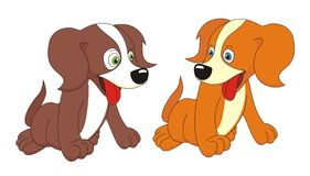 Two dogs cartoon vector illustration Stock Photos