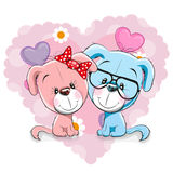 Two Dogs. Two Cute Dogs on a background of heart Royalty Free Stock Images