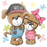Two Dogs. Greeeting card Puppy boy Puppy girl on a flowers background Stock Photography