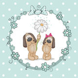 Two Dogs. Greeting card with two Dogs in a frame Royalty Free Stock Photo